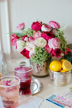 Pink Roses & Ranunculus, Kentucky Derby Party