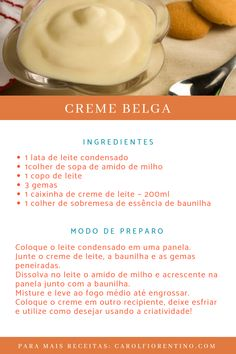 Creme Belga - Source by edneaaparecidams Easter Recipes, My Recipes, Sweet Recipes, Cake Recipes, Cooking Recipes, Cake Hacks, Cake Fillings, Creative Food, Food Hacks