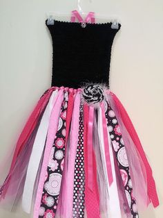Shabby Chic Hot Pink and Black Fabric and Tulle Tutu