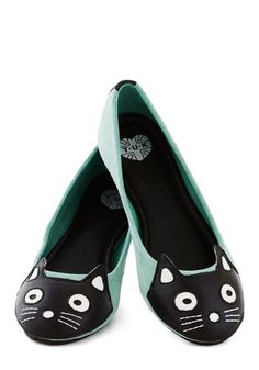 Up Your Alley Cat Flat in Mint - Mint, Black, White, Print with Animals, Kawaii, Flat, Leather, Suede, Better, Casual, Cats, Variation