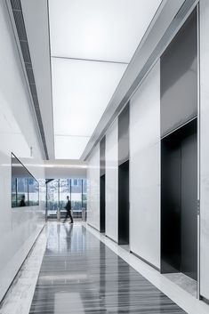 Cifi Group Headquarters, Shanghai by Lacime Architects - 谷德设计网 Workspace Design, Office Interior Design, Office Interiors, Elevator Lobby Design, Lift Design, Condo, Office Lobby, Corporate Office Design, Lobby Interior