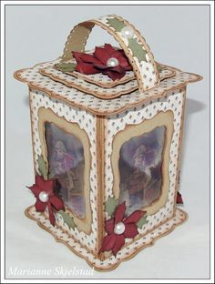 Lantern by Marianne Skjelstad [Spellbinders] Paper Craft Making, Quilling Paper Craft, 3d Paper Crafts, Scrapbook Paper Crafts, Paper Crafting, Diy Crafts, 3d Paper Projects, Craft Projects, Christmas Centerpieces