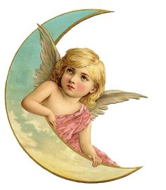 fairies & crescent moon | Vintage Christmas Image - Amazing Angel on Moon 2 - The Graphics Fairy