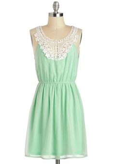 Pergola Di Da Dress. Even when it is too chilly for you to spend your afternoon under your beloved garden pergola, you can still keep memories of relaxing beneath its wooden canopy close in this sweet, mint-green dress. #mint #modcloth