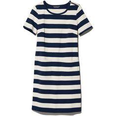 L.L.Bean Signature Signature Sailor T-Shirt Dress  Misses (193.885 COP) ❤ liked on Polyvore featuring dresses, striped t-shirt dresses, striped dress, striped tee shirt dress, white t-shirt dresses and fitted dresses