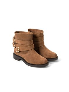 MANGO Suede Buckled Ankle Boots Tan   spree.co.za