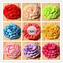 (120pcs/lot) Lovely Soft Fabric Chiffon Rolled Rosette Flower Artificial Matte Satin Silk Flowers For Children Hair Accessories(China (Mainland))