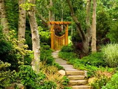 Gateway to Relaxation:                                     An irregular bluestone pathway flanked with pachysandra leads to an Asian-style gate with pergola. The gate draws the eye through to frame the rear yard and entice one to enter. Tip: You do not need a fence to have a gate. Simply tuck an arbor gate into the landscape, which...                                                                            read more                                                                         ...