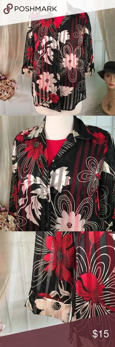 Gloria Lance Black Floral Blouse Today, featuring in Kaki Jo's closet is this beautiful black blouse with faux tank top underneath in front only.  New condition. Size S. Gloria Lance Tops Blouses