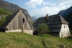Typical farmhouse and shed/barn in Triglav National Park, Slovenia.