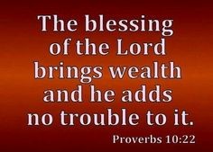 """""""The blessing of the Lord brings wealth and he adds no trouble to it"""" (Proverbs 10:22). #KWMinistries"""