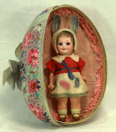 Antique Armand Marseille 323 Googly Eye Easter Doll in Egg Display c1915 in Collectibles, Holiday & Seasonal, Easter | eBay