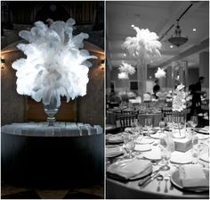 Feathery Glamour to Spice Up Your Décor.  To see more wedding ideas: www.modwedding.com