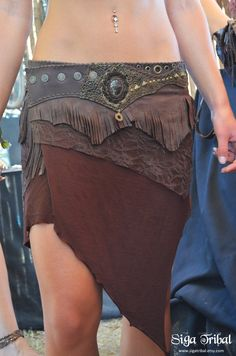 BROWN Leather Skirt Gypsy Jungle Tribal Fringe Pirate Lace Pixie by SigaTribal on Etsy