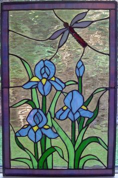 Free Stained Glass Mosaic Patterns | Stained Glass Iris Dragonfly