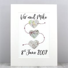 Celebrate the most important moments in your relationship with this personalised map artwork. Heart Artwork, Map Artwork, Unique Birthday Gifts, Birthday Love, Wedding Art, Wedding Gifts, Heart Map, Grandpa Gifts, Fathers Day Cards