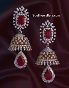 Dazzling Diamond Jhumkas studded with Diamonds and Rubies Gold Earrings Designs, Gold Jewellery Design, Necklace Designs, Cz Jewellery, Jhumka Designs, Diamond Jumkas, Diamond Earing, Ruby Jewelry, Diamond Jewelry
