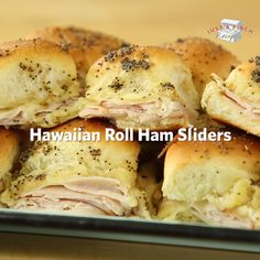 Hawaiian Roll Ham Sliders are the best recipe you can bring to your football parties! Hawaiian Roll Ham Sliders are the best recipe you can bring to your football parties! Snacks Für Party, Appetizers For Party, Food For Parties, Superbowl Party Food Ideas, Hawaiian Appetizers, Party Entrees, Hawaiian Recipes, Game Day Snacks, Game Day Food