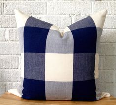 This listing is for one fabulous pillow cover in an over sized navy blue and cream buffalo check! Both sides of the pillow feature the same gorgeous