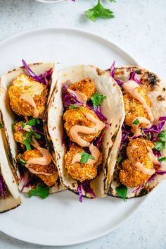 These cauliflower tacos with breaded cauliflower, refried beans and silky Yum Yum sauce are all about one thing: big flavor! #tacos #vegetarian #vegan #recipe #healthy #cauliflower #mealprep
