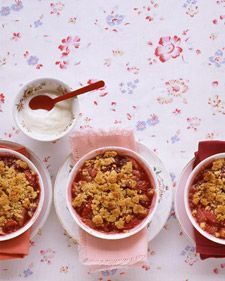 Crumble: A British name for a blend of berries or other fruit with a textured sugary topping, often with oats; the result is all but synonymous with a crisp. Our individual servings include rhubarb, strawberries, and raspberries nestled under an oatless blend of butter, brown sugar, flour, salt, and grated orange zest.