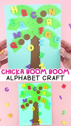 Make learning about letters and the alphabet fun for preschoolers with this book-inspired Chicka Chicka Boom Boom Craft. Easy alphabet activity for kids! Preschool Art Activities, Kindergarten Crafts, Classroom Crafts, Alphabet Activities, Preschool Dinosaur Crafts, Preschool Shape Activities, Preschool Letter B, School Bus Crafts, Preschool Projects