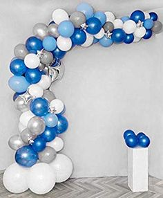 Balloon Garland Arch Kit Blue and White Silver Long Balloons Pack For Boy Baby Shower Birthday Party Centerpiece Backdrop Background Decorations Balloon Arch Diy, Balloon Backdrop, Balloon Garland, Balloon Decorations, Centerpiece Decorations, Birthday Party Centerpieces, Baby Shower Centerpieces, Birthday Decorations, Its A Boy Balloons
