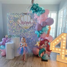 Balloon Decorations Party, Birthday Party Decorations, Mermaid Happy Birthday, Little Mermaid Parties, 2nd Birthday Parties, Baby, Ideas, Ideas Party, Kids Part