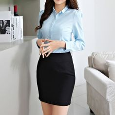 Stylish Blue Color Polyester Material Turn Down Collar Shirt For Women