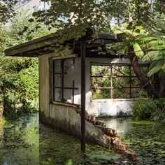 British artist Alex Hartley has installed this crumbling modernist ruin in the gardens of London's Victoria Miro Gallery.