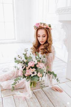 bride dress bouquet boudoir morning bride