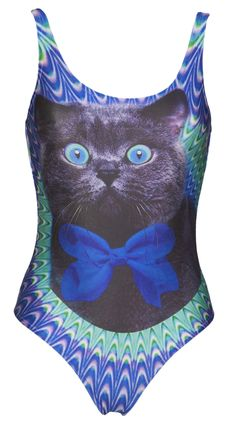 Ladies Crazy Psychedelic Cat Swimsuit From Mr Gugu & Miss Go : TruffleShuffle.com