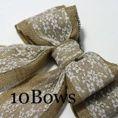 Burlap Pew Bows 10 Natural Burlap and Lace by CottonRidgeEmporium