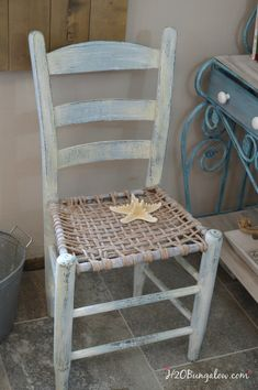 Rustic coastal chair makeover  on a vintage coastal  chair by H2OBunglow See this project and many more rustic furniture makeovers linked up to this post #paintedfurniture #themedfurnitureday