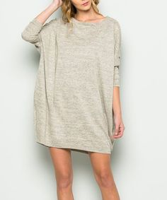 This Oatmeal Side-Pocket Shift Dress is perfect! #zulilyfinds