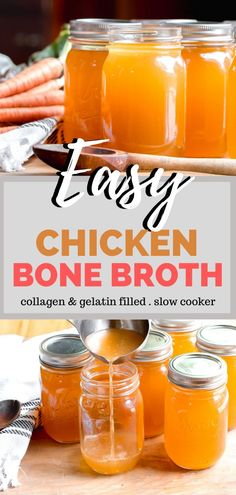 Easy Chicken Bone Broth Recipe - The easiest way to make chicken bone broth and to get the most nutrients from the bones is to cook it overnight or 48 hours in a slow cooker. This gives them most gelatinous, mineral rich bone broth. It's liquid gold! www.ketofocus.com #ketobonebroth #bonebroth #howtomakebonebroth #chickenbonebrothrecipe #slowcookerbonebroth Chicken Bone Broth Recipe, Chicken Broth Recipes, Soup Recipes, Keto Recipes, Keto Chicken, Cooker Recipes, Dinner Recipes, Slow Cooker Bone Broth, Bone Broth Soup