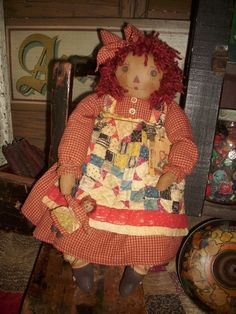 Primitive Raggedy Ann Doll , Antique quilt , Reds, Blues,  One of  a Kind Doll #NaivePrimitive