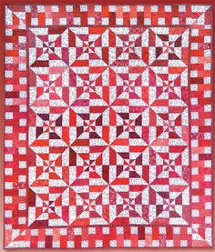 "To us this quilt feels like a wonderful blend of picnic warmth and candy-striped goodness!  Debby Kratovil of Debby Kratovil Quilts put this project together for Blank Quilting using forty 2.5"" strips. http://www.freequiltpatterns.info/free-pattern---red-hot-flash-quilt-by-debby-kratovil.htm"