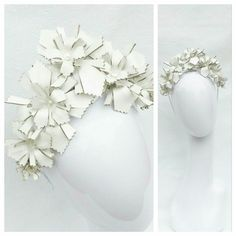 White Patent Leather Floral  BY DIANNE BARBOUR  #millinery #hatacademy