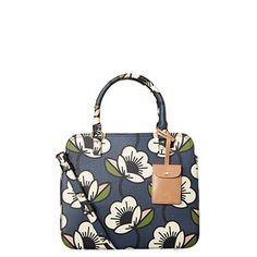 Orla Kiely | USA | bags | Mainline bags | Passion Flower Textured Vinyl Jeanie Bag (16PBPSF065) | navy