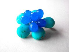 Blue flower pin turquoise gemstone flower brooch by StarJewels, $46.00