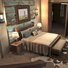 Most Beautiful Rustic Bedroom Design Ideas. You couldn't decide which one to choose between rustic bedroom designs? Are you looking for a stylish rustic bedroom design. We have put together the best rustic bedroom designs for you. Find your dream bedroom. Farmhouse Master Bedroom, Home Bedroom, Bedroom Ideas, Bedroom Carpet, Master Bedrooms, Bedroom Designs, Dream Bedroom, Bedroom Suites, Master Suite
