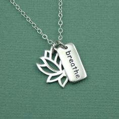 Lotus Breathe Necklace  sterling silver yoga charm by TheZenMuse, $41.00