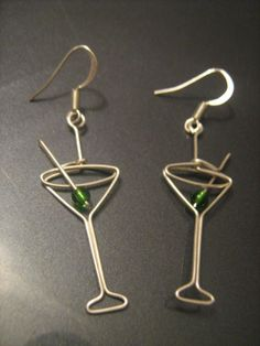 Aren't these adorable wire wrapped Martini glass earrings made in sterling silver by ParnicBiju I found on Etsy?