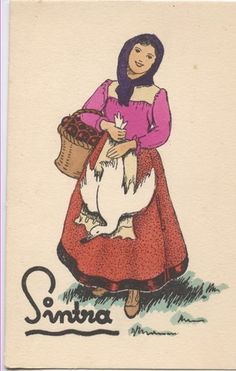 Sintra Portugal, Old Postcards, Portuguese, Vintage Posters, Illustration Art, 1, Costumes, Retro, Disney Characters