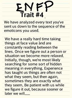 ENFP trait #4  More like infj lol