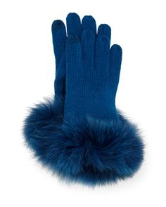 Cashmere Tech Gloves w/Fox Fur Cuff by Sofia Cashmere at Neiman Marcus.