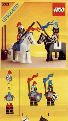 LEGO 6021 Jousting Knights instructions displayed page by page to help you build this amazing LEGO Castle set Chateau Lego, Norman Knight, Classic Lego, Lego Knights, Lego Castle, Lego Toys, Lego Instructions, Lego Building, Legos