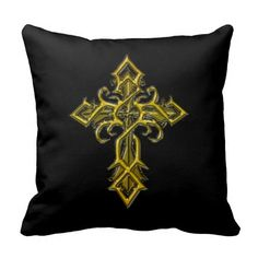 Golden Medieval Cross Throw Pillow