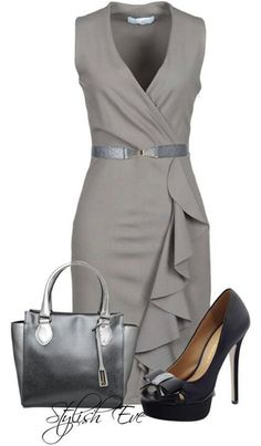 Grey Dress + Black Stilettos